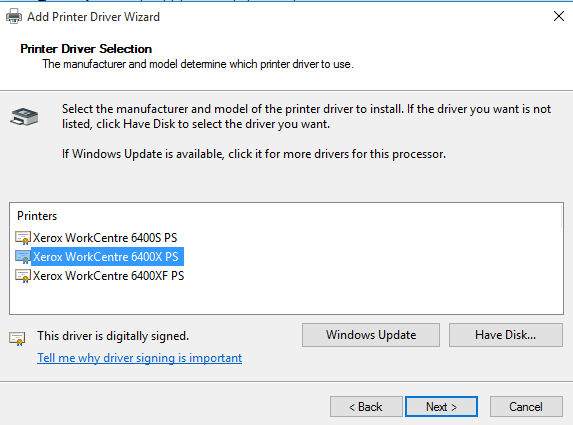 wc6400 add driver